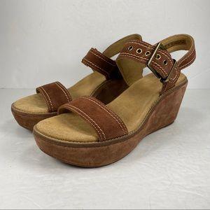 Clarks Artisan Brown Suede Wedge Heel Sandal